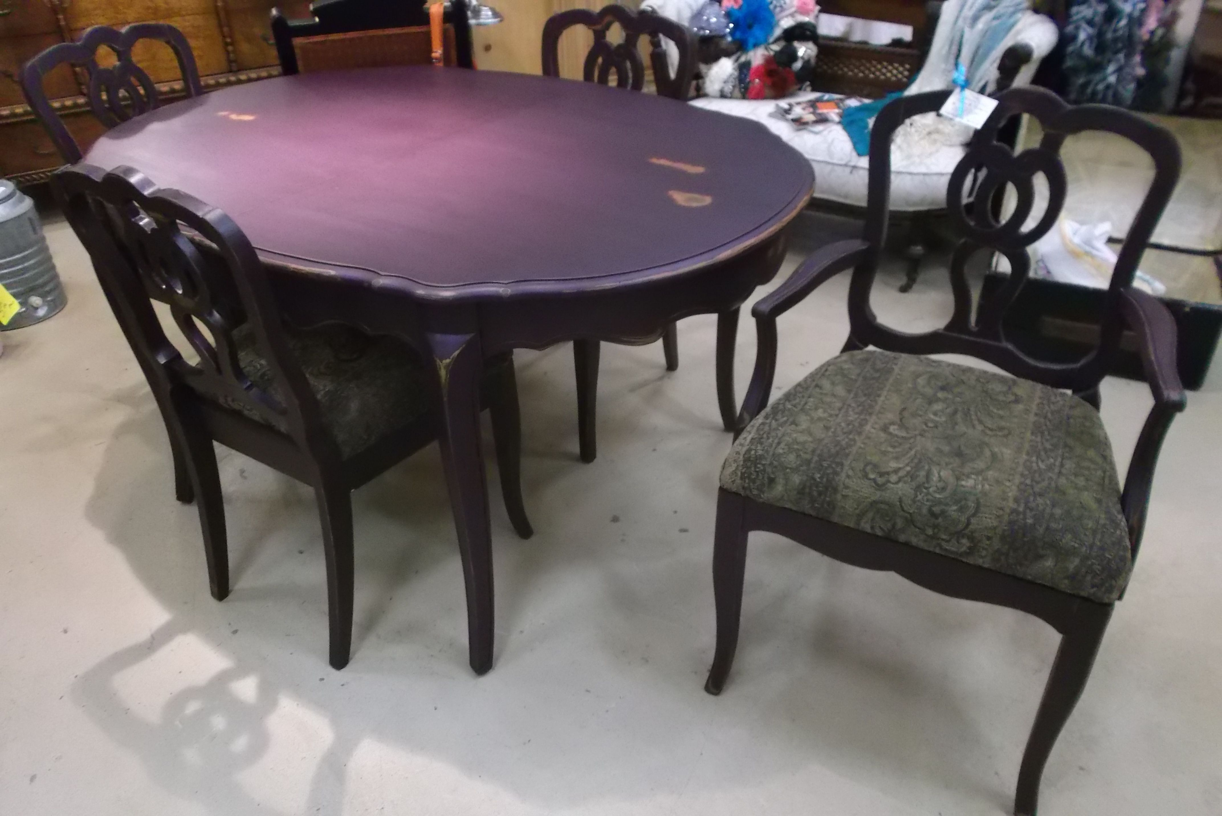 A blah 1950 s dining table and chairs is given a double dose of