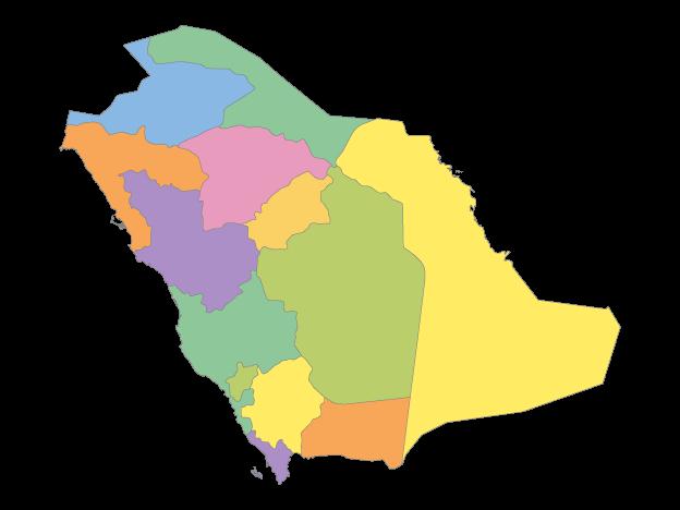 Multicolor Map Of Saudi Arabia With Regions Free Vector Maps Map Vector Vector Free Map Outline