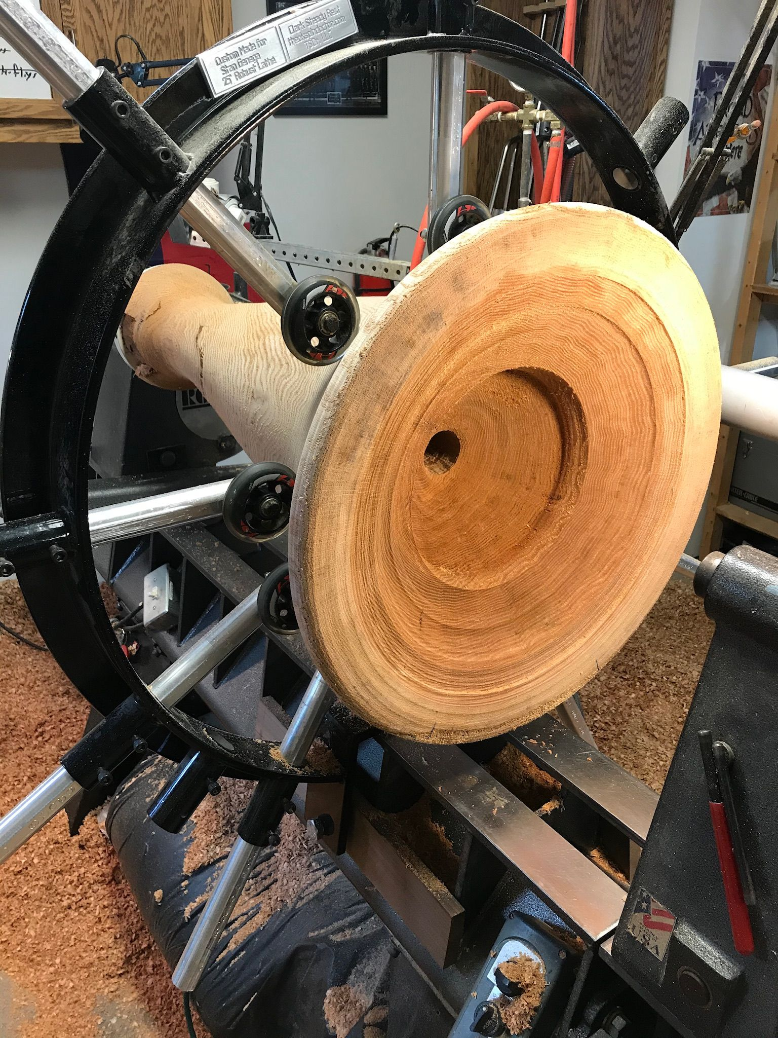 installed the outboard steady ring and began hollowing ran out of steam after 6 hrs going to pick it up again tomorrow morning in 2020 outboard steering wheel pinterest