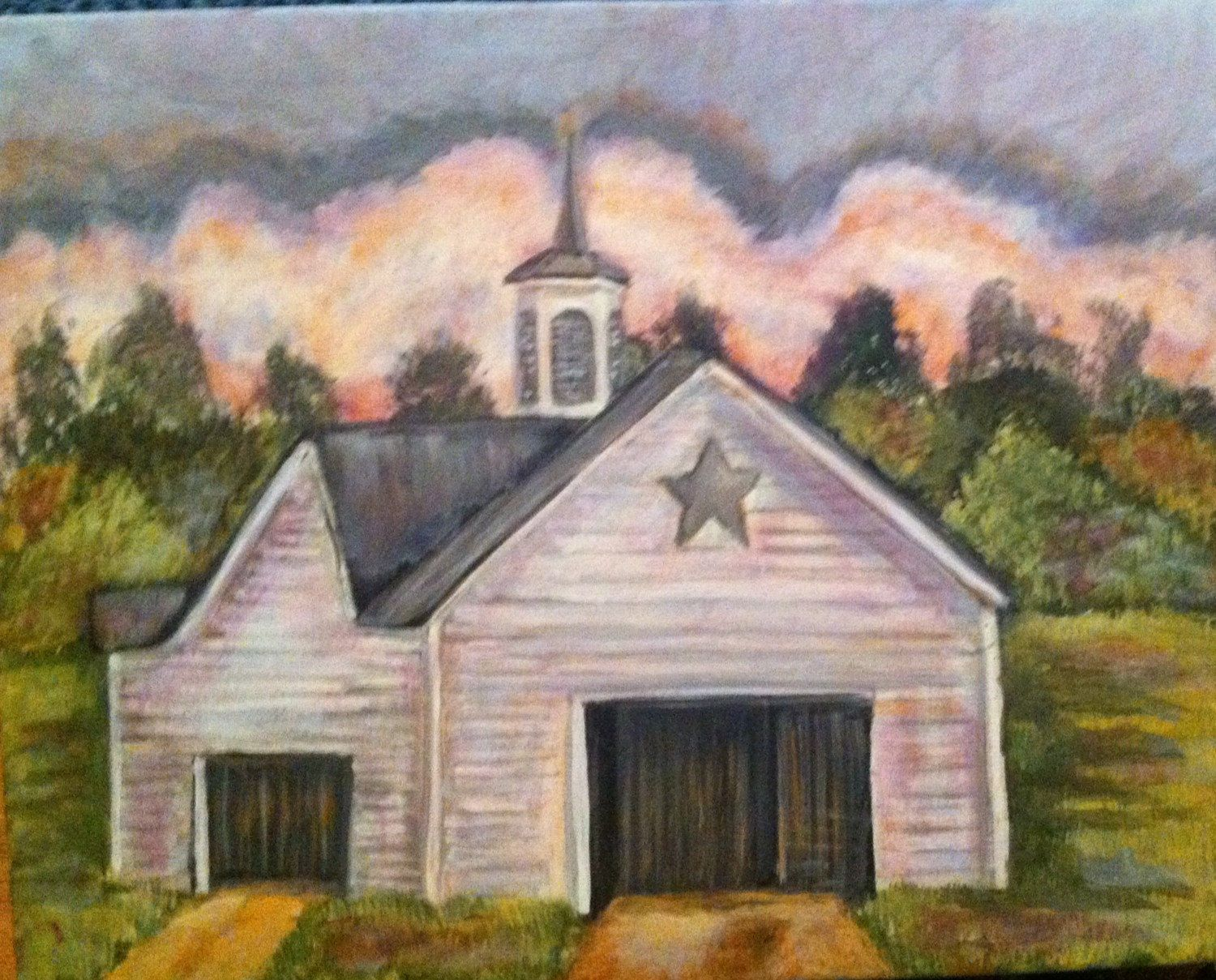 primitive rustic country decor original painting barn Rustic Country Paintings id=87318