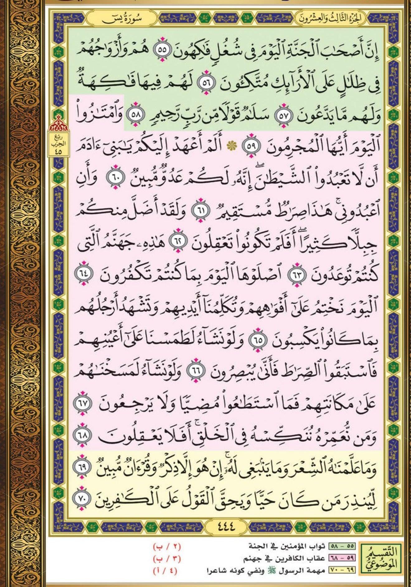 ٥٥ ٧٠ يس مصحف التقسيم الموضوعي Quran Book Holy Quran Book Quran Verses
