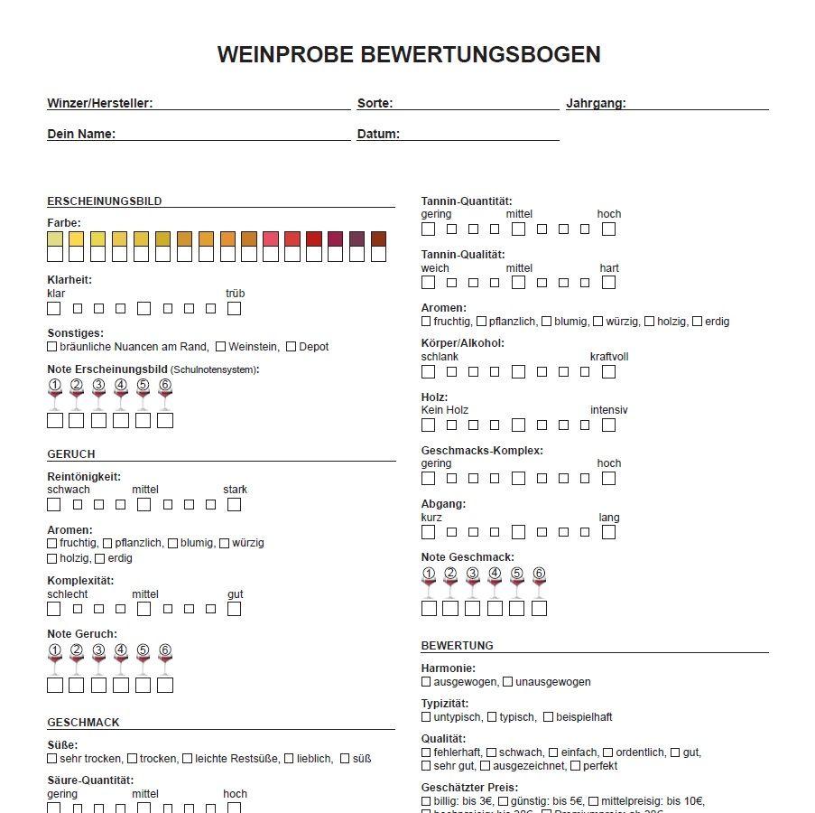 Du hast #Lust auf eine #Weinprobe? Mit diesem #Bewertungsbogen ...