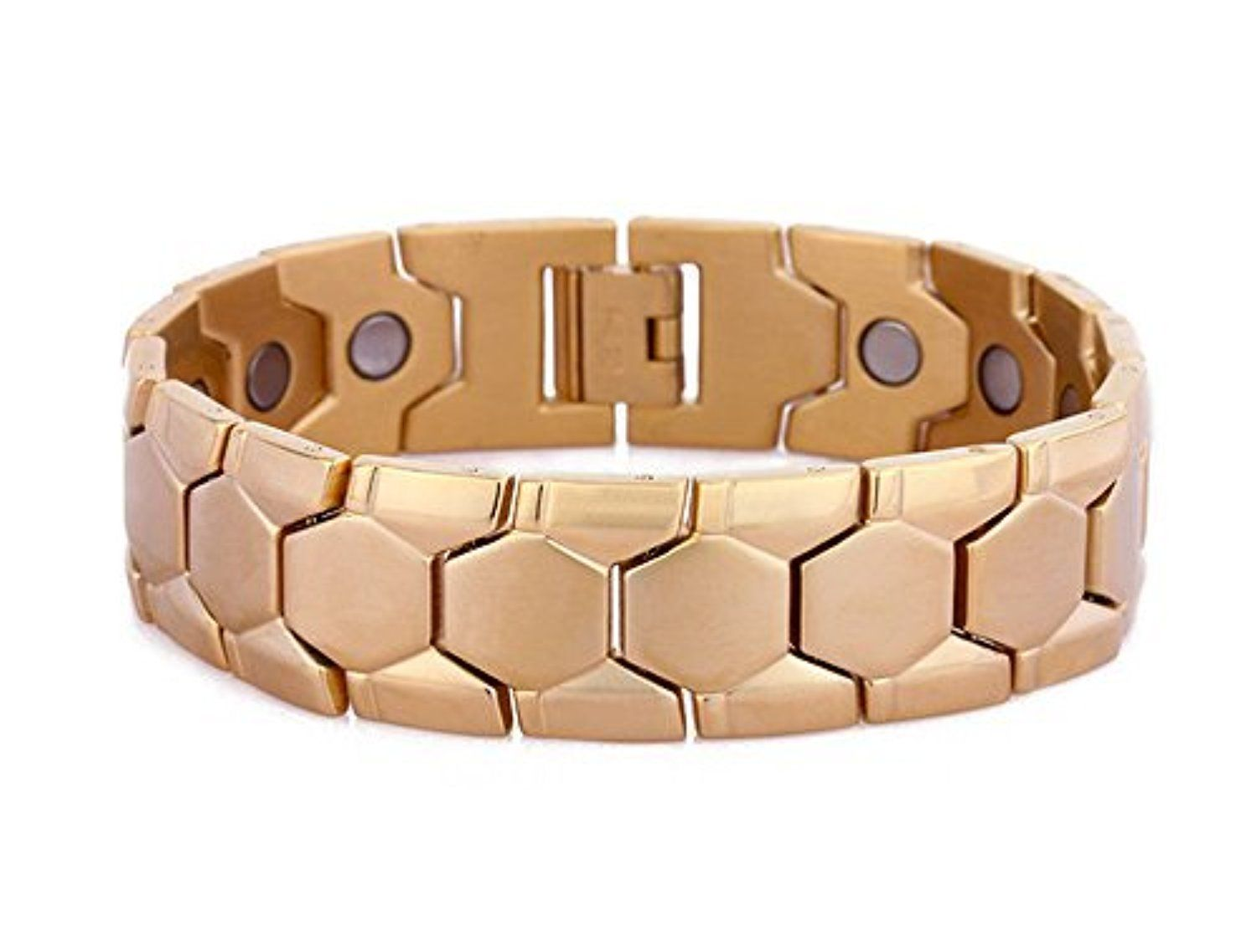 Gg mens gold tone four element titanium magnetic bracelet stainless