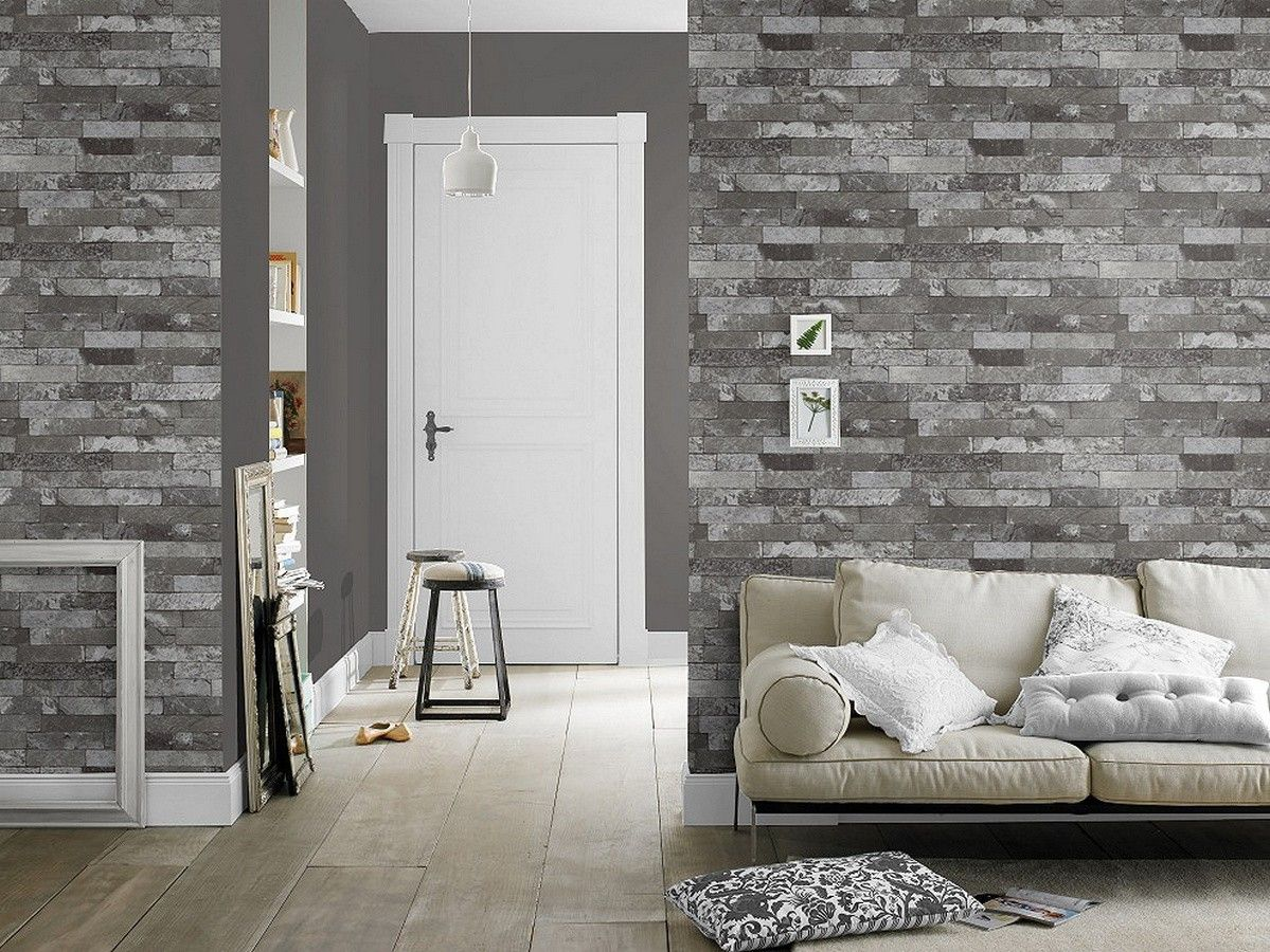 Papel pintado para pared ladrillo minimalista gris perla metalizado boston 6904 en 2019 papel - Papel pared ladrillo ...
