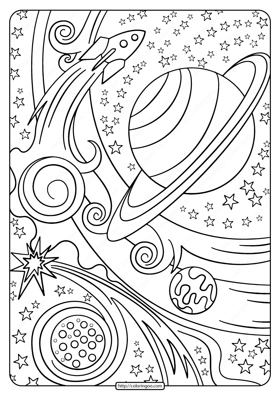 Free Printable Rocket And Planets Pdf Coloring Page In 2020 Planet Coloring Pages Star Coloring Pages Space Coloring Pages