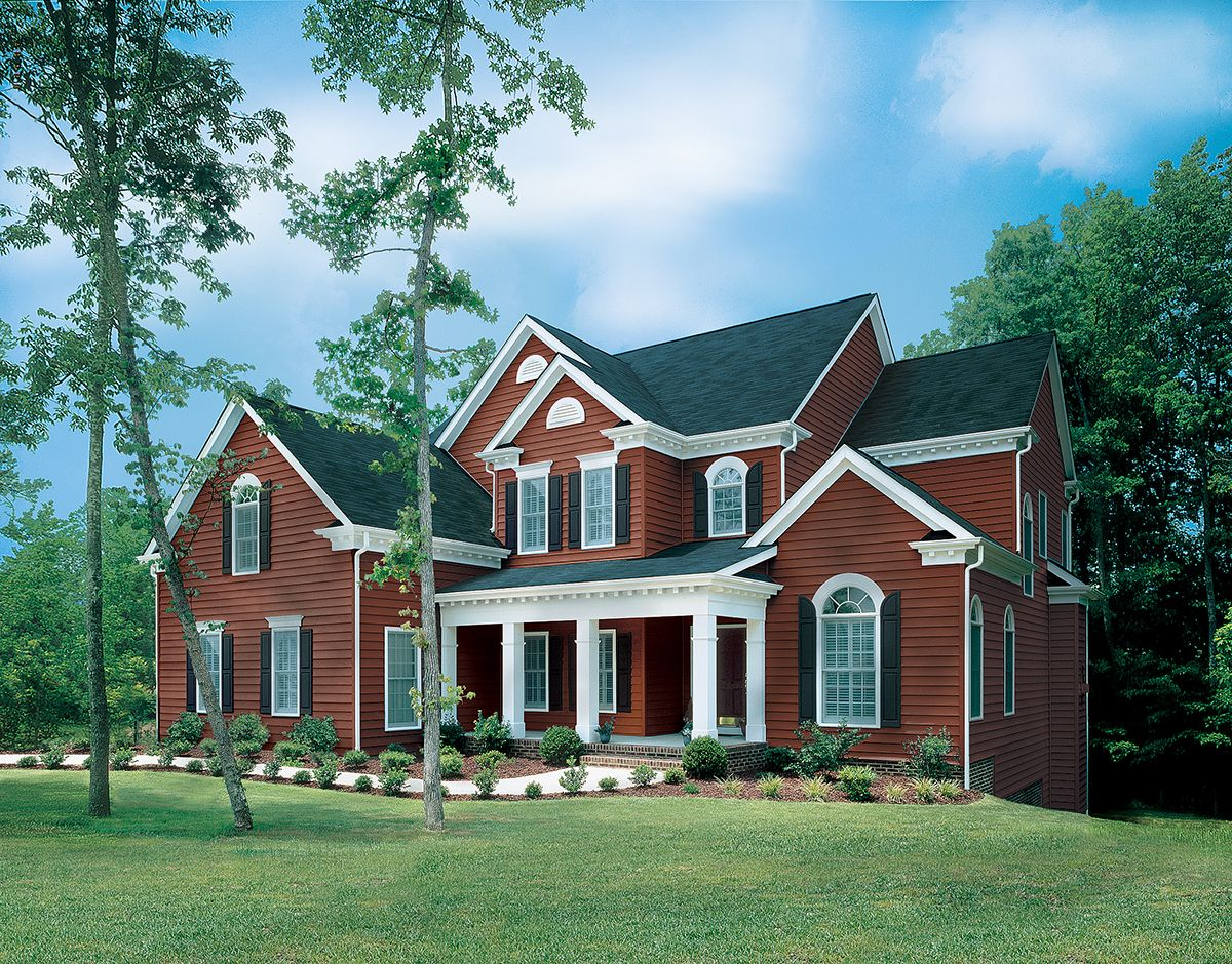House With Black Trim Venetian Red With Snow White Trim And Black Shutters Siding