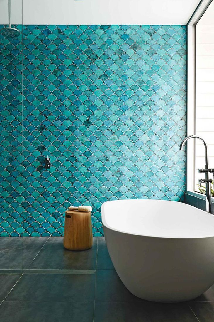 5 Ways To Use Moroccan Fish Scales Green Tile Bathroom Blue