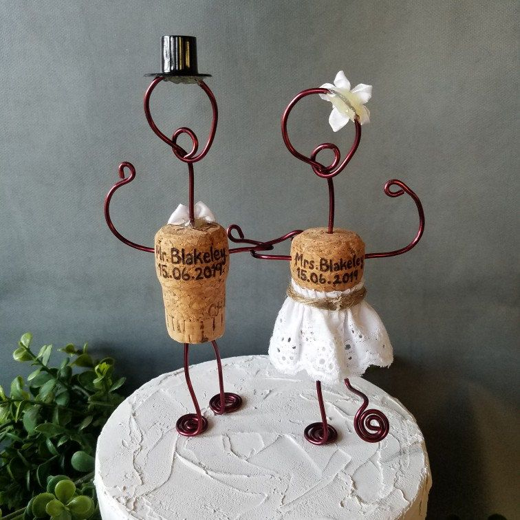 Champagne CORK Wedding Cake Toppers Wine Inspired Custom | Etsy