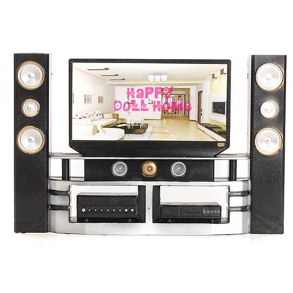 Nueva Llegada Mini Hi-Fi 1:6 TV Gabinete de Cine En Casa Set combo para barbie doll clothes accesorios vestido de casa de muebles del bebé toys
