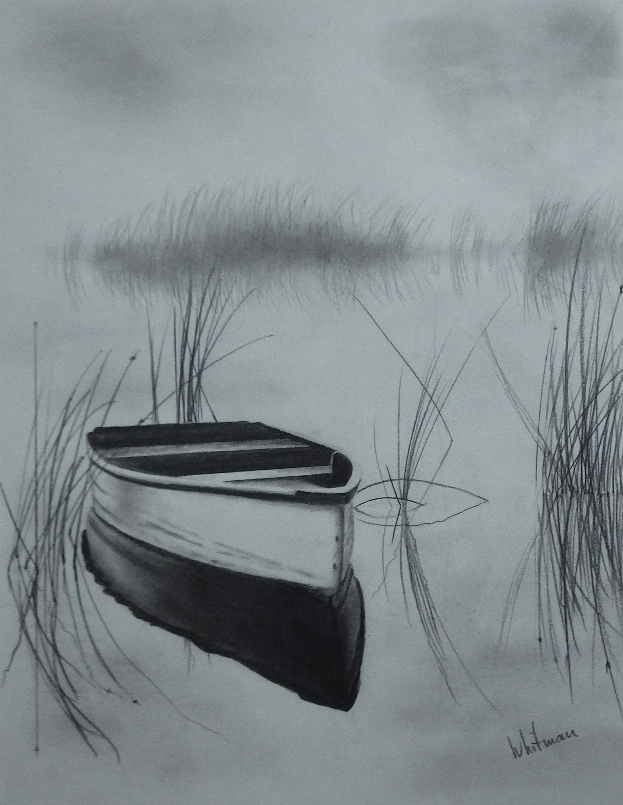 Misty row boat on the lake reflections sketch original art graphite pencil drawing by elena whitman