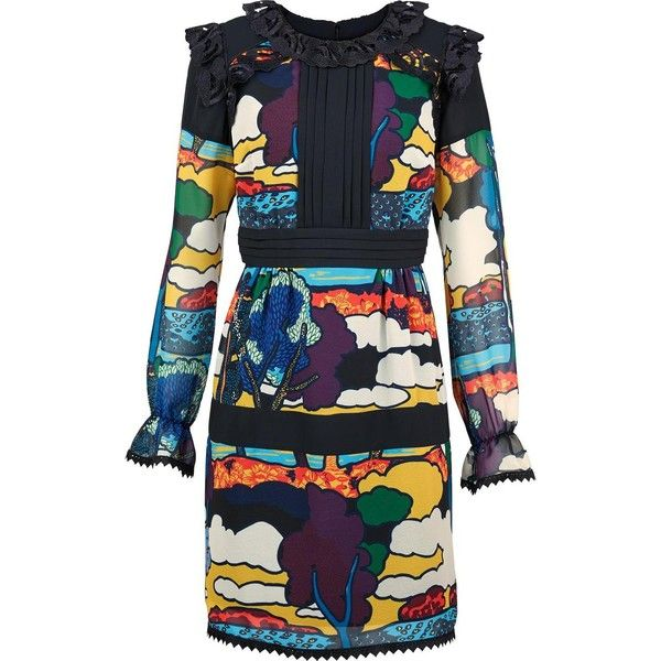 Anna Sui Lucy In The Sky Print Long Sleeve Dress ($375) ❤ liked on Polyvore featuring dresses, short empire waist dresses, multi color dress, long sleeve short dress, multi print dress and pattern dress