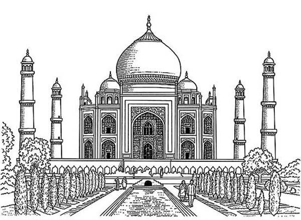 Realistic drawing of taj mahal coloring page paris for Drawing for house construction in india