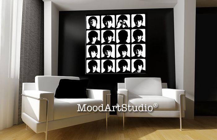 Cuadro de los beatles pop art en blanco y negro 100x100cm - Cuadro blanco y negro ...