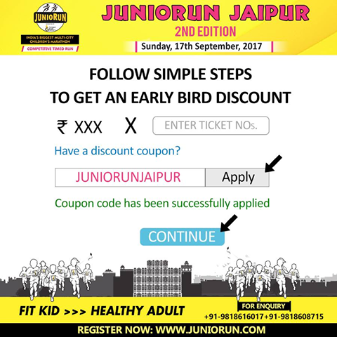 An Important Update How To Apply Coupon Code Coupon Code Juniorunjaipur Is Open For All The Participants Registe Exercise For Kids Healthy Kids How To Apply