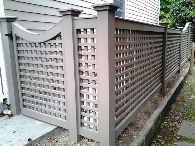 Grey Wood Lattice Fence And Gate Lattice Fence Backyard Fences