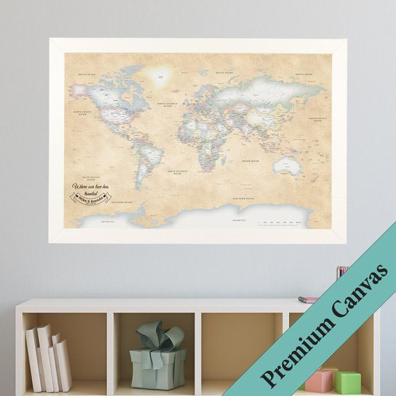 CANVAS Personalized Perfectly Pastel World Travel Map -Push Pin ...
