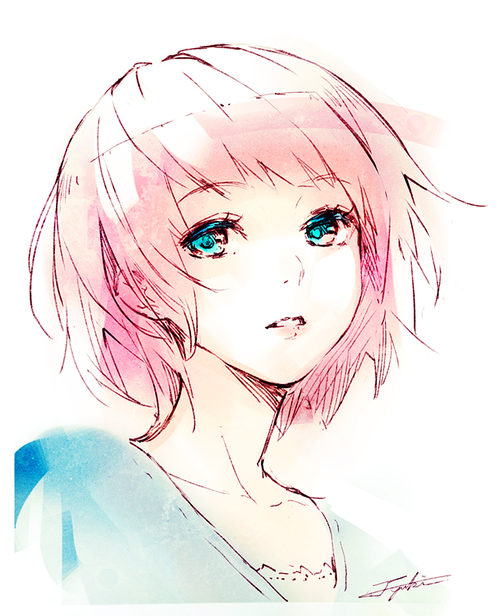 Cute Girl Pink Girl Water Colour Effect Art Inspiration Anime
