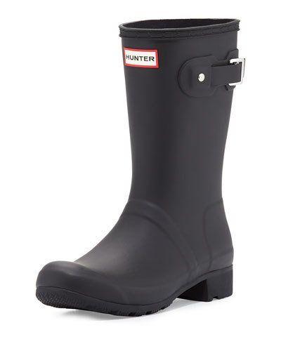 Hunter Boot Original Tour Matte Short Rain Boot, Black