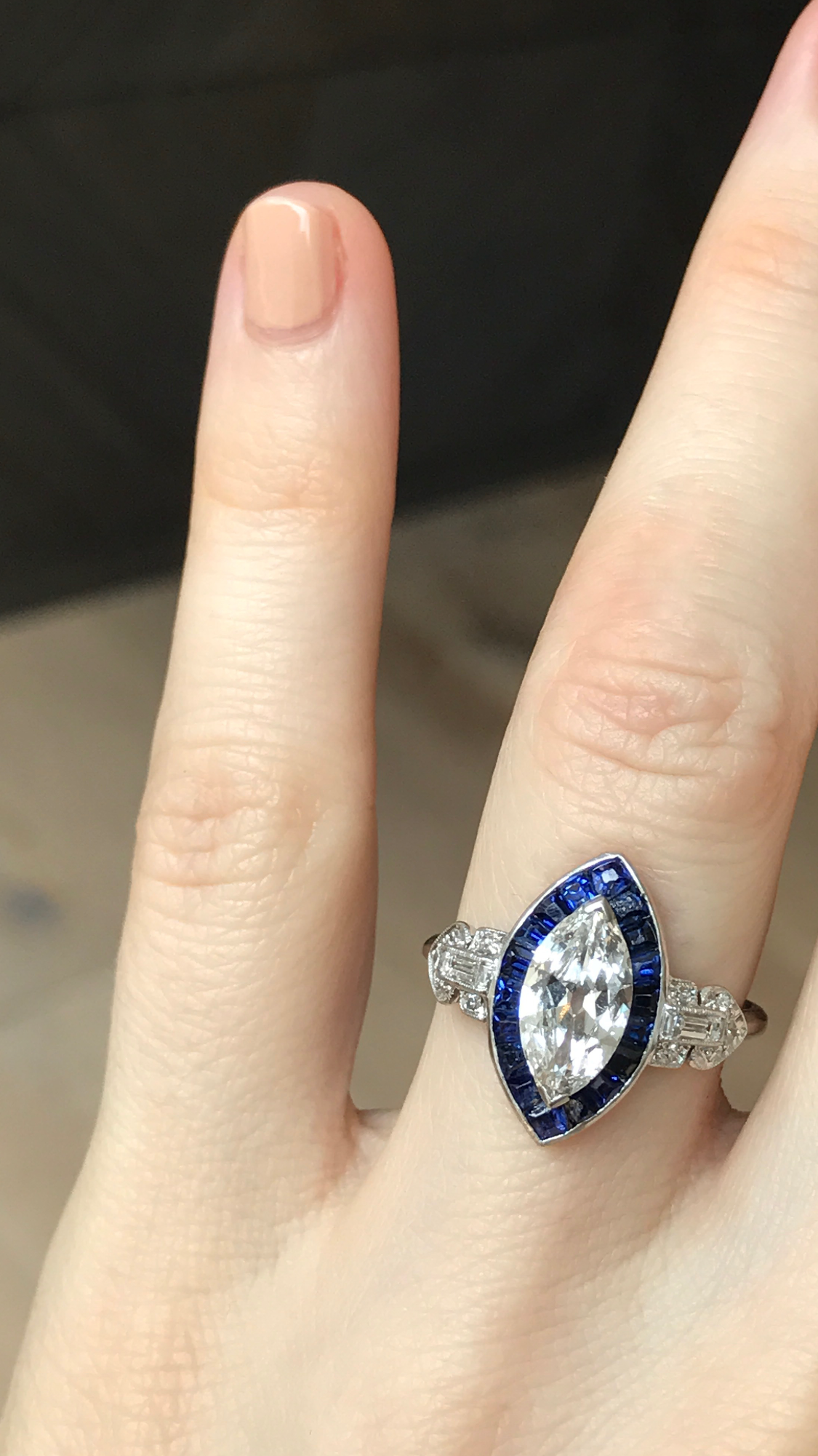 Vintage Art Deco Engagement Ring Made In Platinum Featuring A Gia Art Deco Sapphire Engagement Ring Vintage Engagement Rings Sapphire Art Deco Engagement Ring