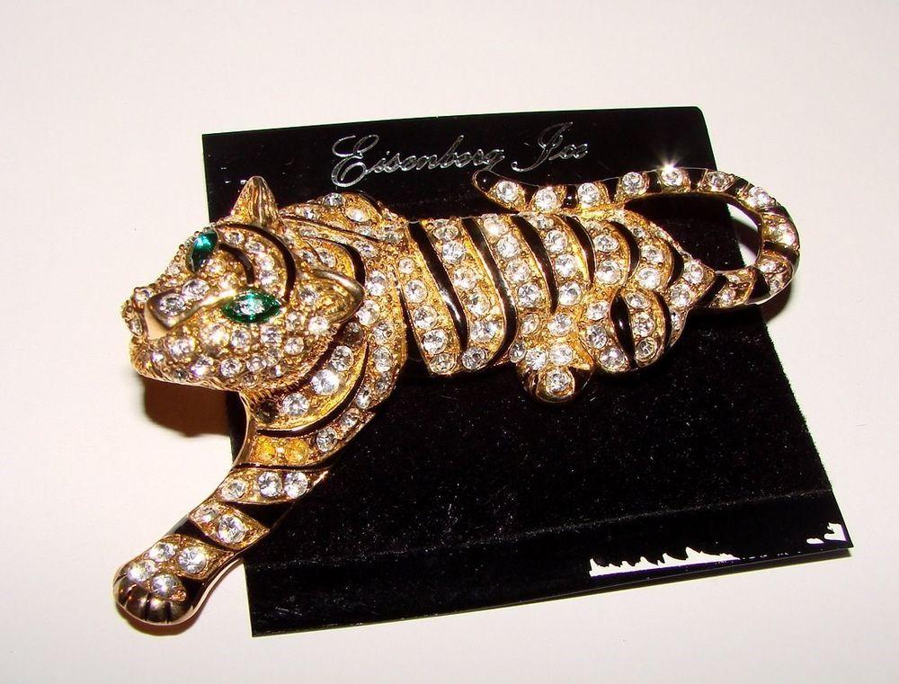 HUGE & RARE Vintage Signed EISENBERG ICE Rhinestone TIGER Brooch ~ Exquisite NEW #EisenbergIce
