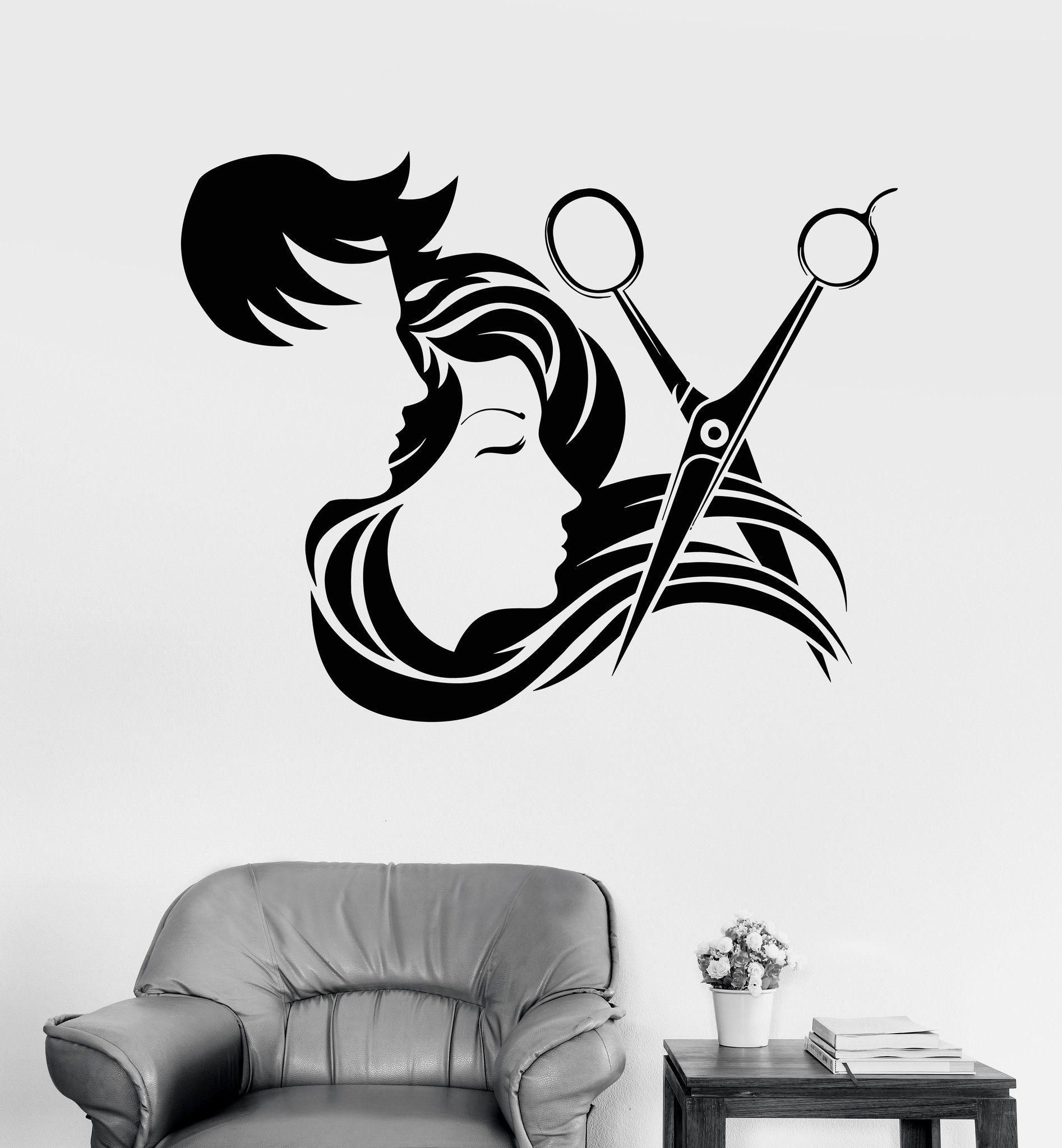 Vinyl wall decal hair salon stylist hairdresser barber shop stickers unique gift ig4133 - Stickers salon design ...