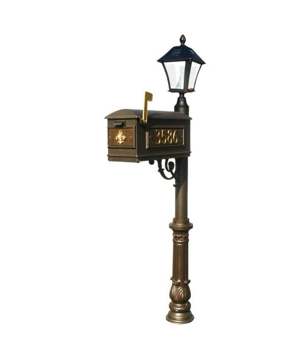 Qualarc Lewiston Mailbox Ornate Base And Solar Lamp Set With Images Solar Lamp Lamp Sets Mounted Mailbox