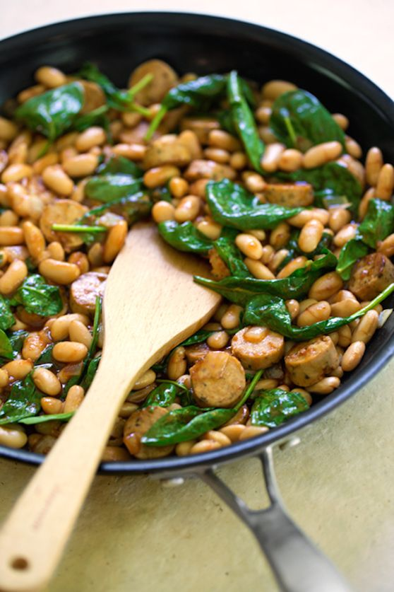 Bbq Flavored White Beans With Sausage And Spinach