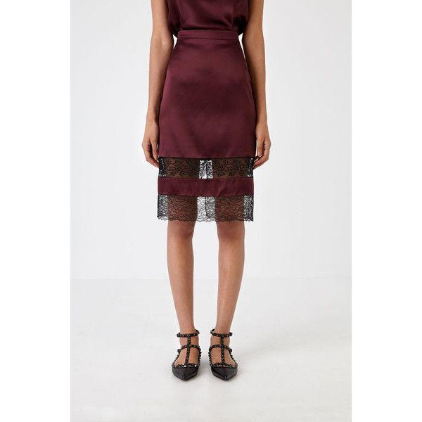 Givenchy Lace and Satin Skirt (1,870 CAD) ❤ liked on Polyvore featuring skirts, burgundy, see through skirt, burgundy skirt, panel skirt, patterned skirts and sheer slip