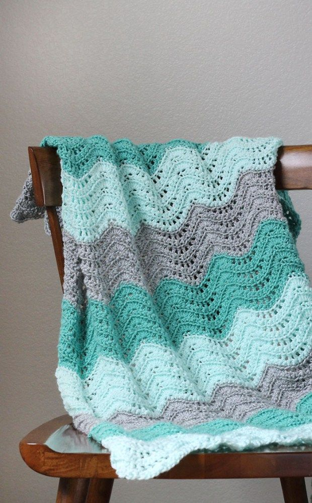 Crochet Feather and Fan Baby Blanket - Free Pattern | Manta, Cobija ...