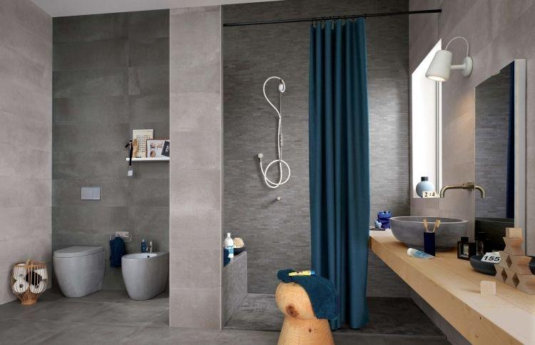 Badfliesen Ideen Grau Dusche Waschtisch Holz Modern Betonoptik  Amazing Design