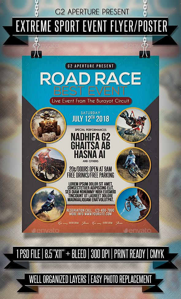 Extreme Sport Event Flyer / Poster Event flyers, Flyer template