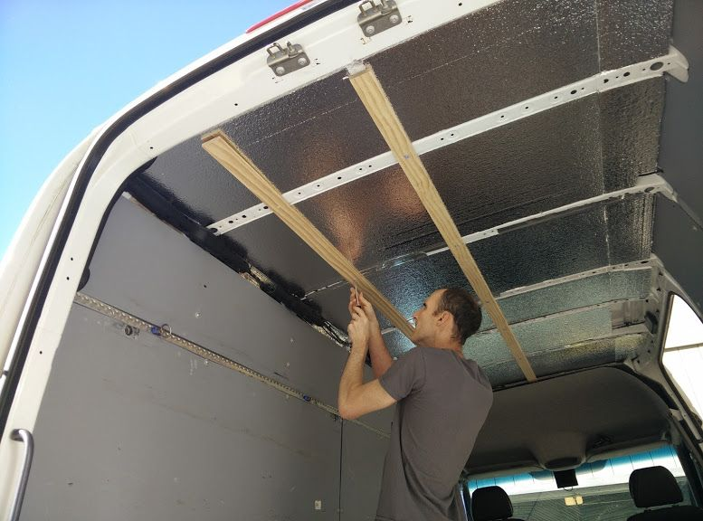 Installing Roof Insulation On Our Sprinter Van