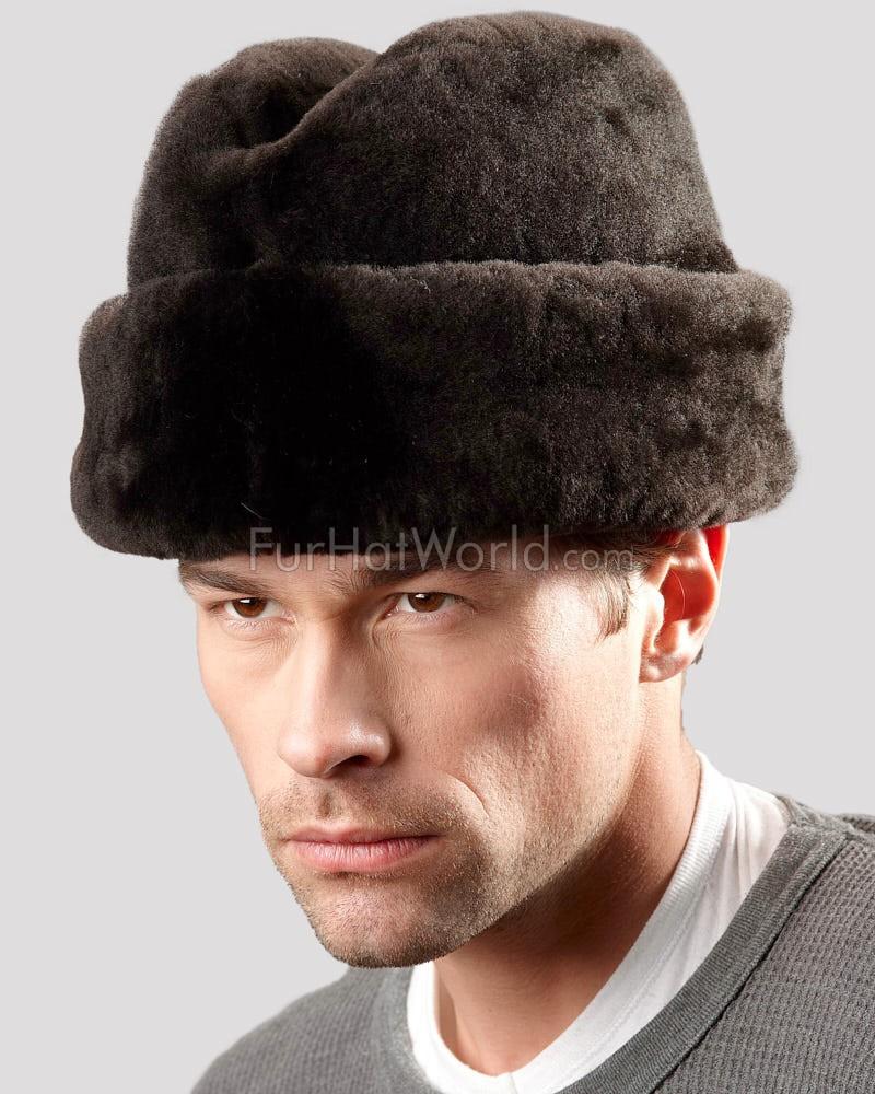 Brown Mouton Sheepskin Russian Cossack Hat For Men Fur Hat Men Cossack Hat Hat For Man