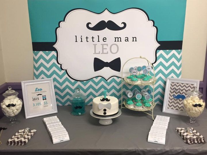 Little Man Mustache And Bow Tie Backdrop. Chevron Pattern, Theme Colors  Turquoise, Silver