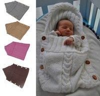 d6a7b32b8b27e Baby Newborn 0-3 Months Hand Knitted Blanket Swaddle Sleeping Bag ...