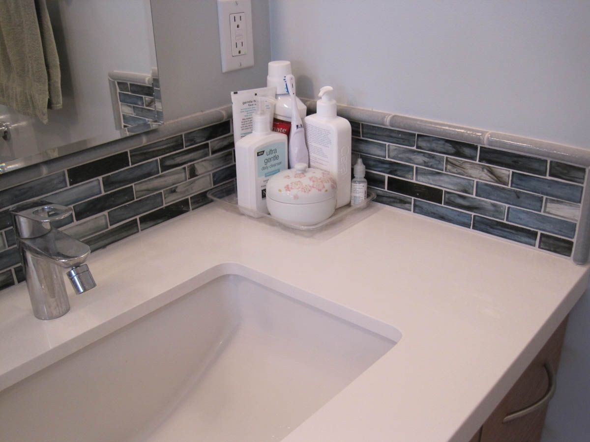 Backsplash Ideas · Mosaic Tiles Corner Bathroom Sink