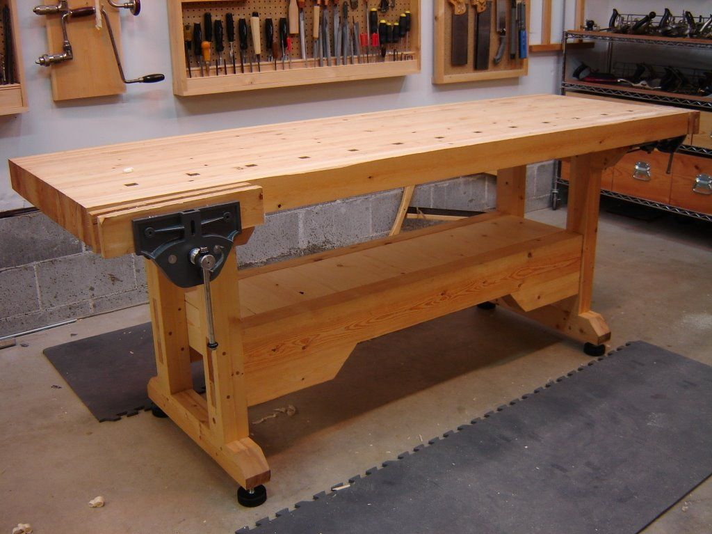 Solid Workbench With Hockey Puck Leveling Feet