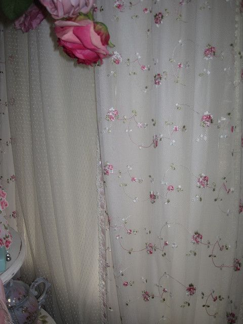 Rose Lace Curtains Lace Shower Curtains Shabby Chic Shower