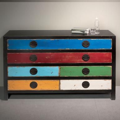 Multi-colour chest of drawers