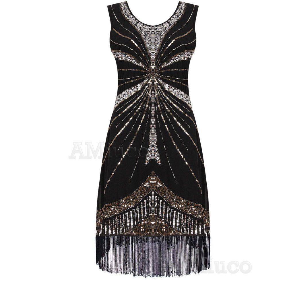 Us flapper dress great gatsby charleston deco sequin fringed