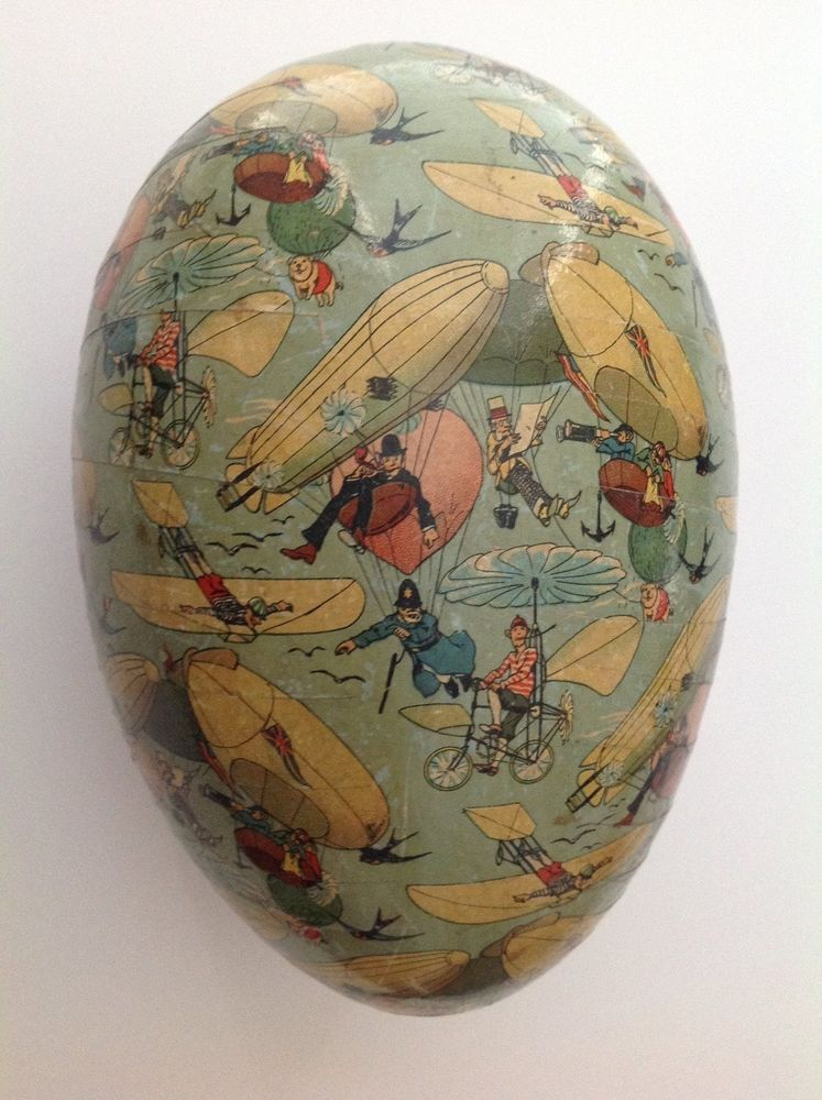 Rare Large Antique Paper Mache Easter Egg Candy Container