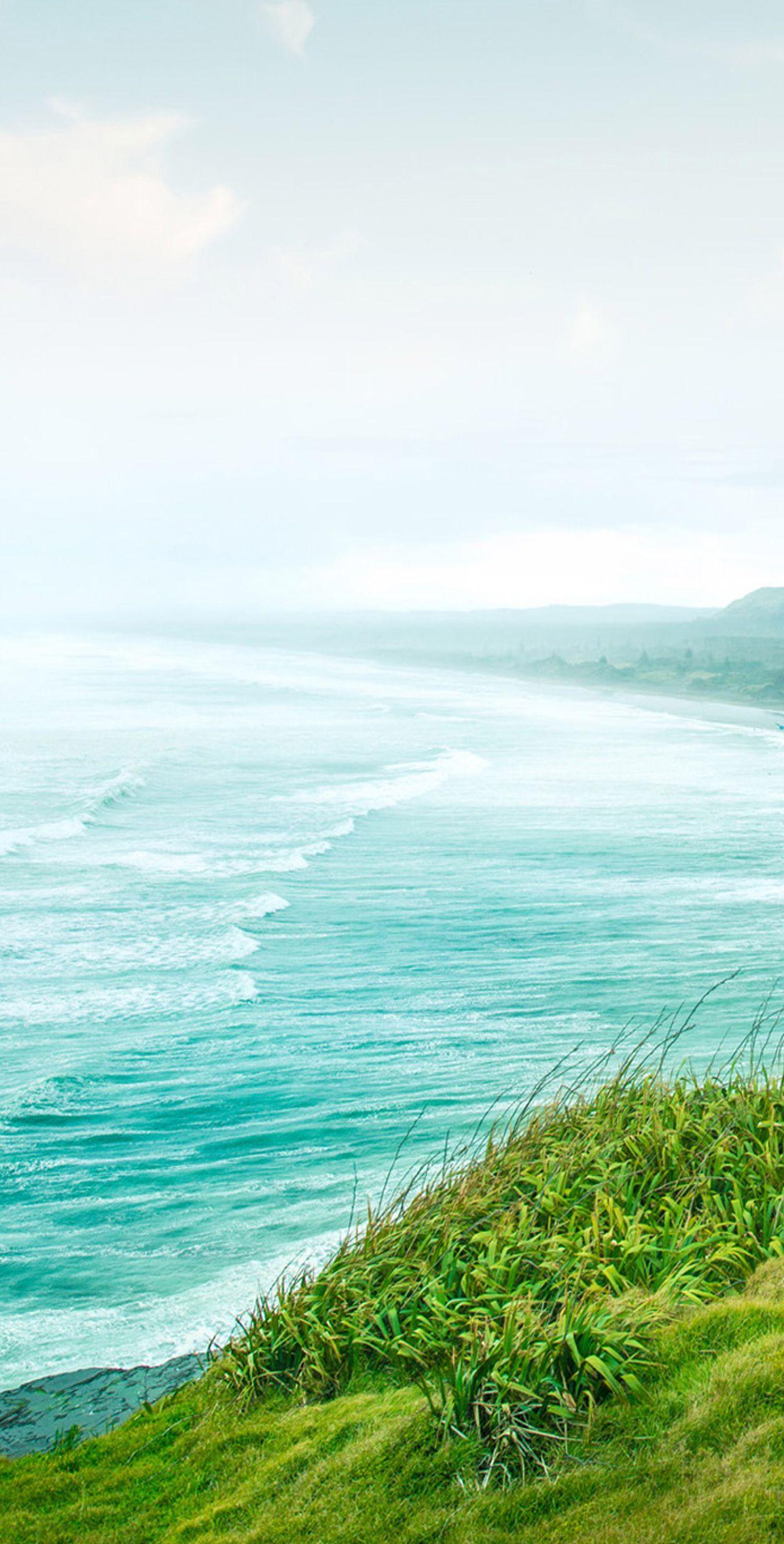 Green, grass, ocean, sea, cliffs, wallpaper, galaxy