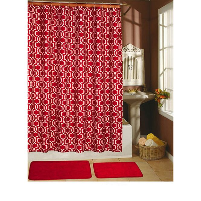 Red Shower Curtain Set Red Shower Curtains Shower Curtain Sets