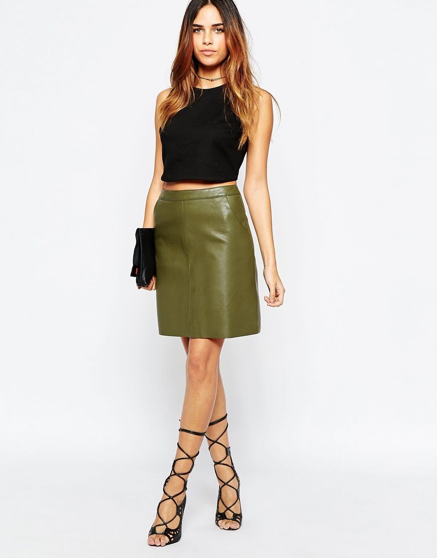 93b8116a49 Warehouse+Faux+Leather+A+Line+Skirt | Fashion | Leather a line skirt ...