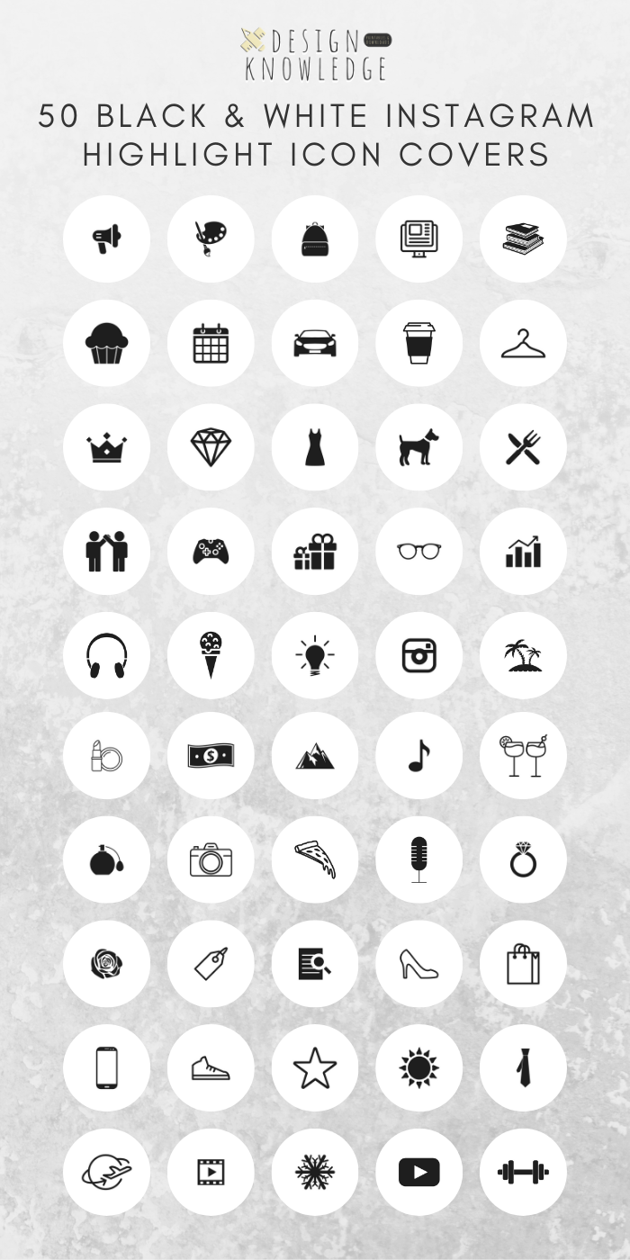 50 Instagram Story Highlight Icon Covers Black & White
