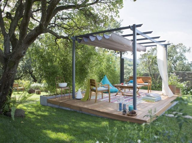 Pergola sur bois leroy merlin espacios exteriores for Amenagement jardin vis a vis