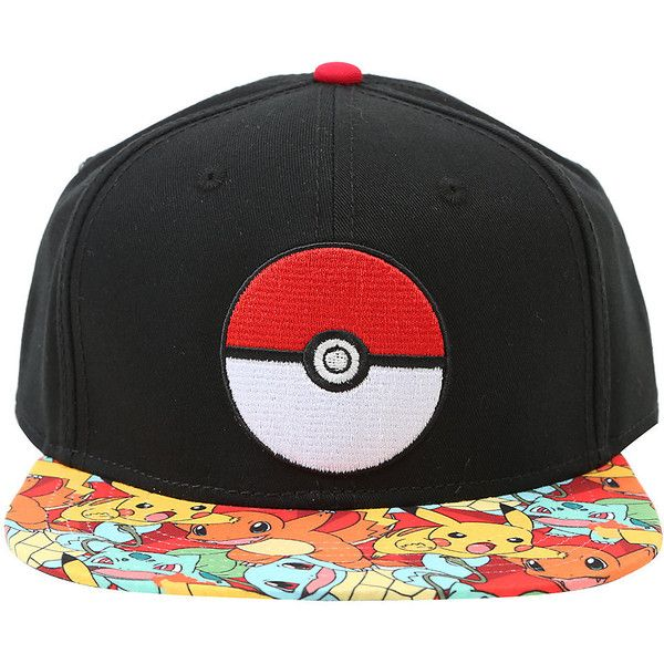 141e2773ecdb8 Pokemon Starters Sublimation Bill Snapback Hat Hot Topic ( 20) ❤ liked on  Polyvore featuring accessories