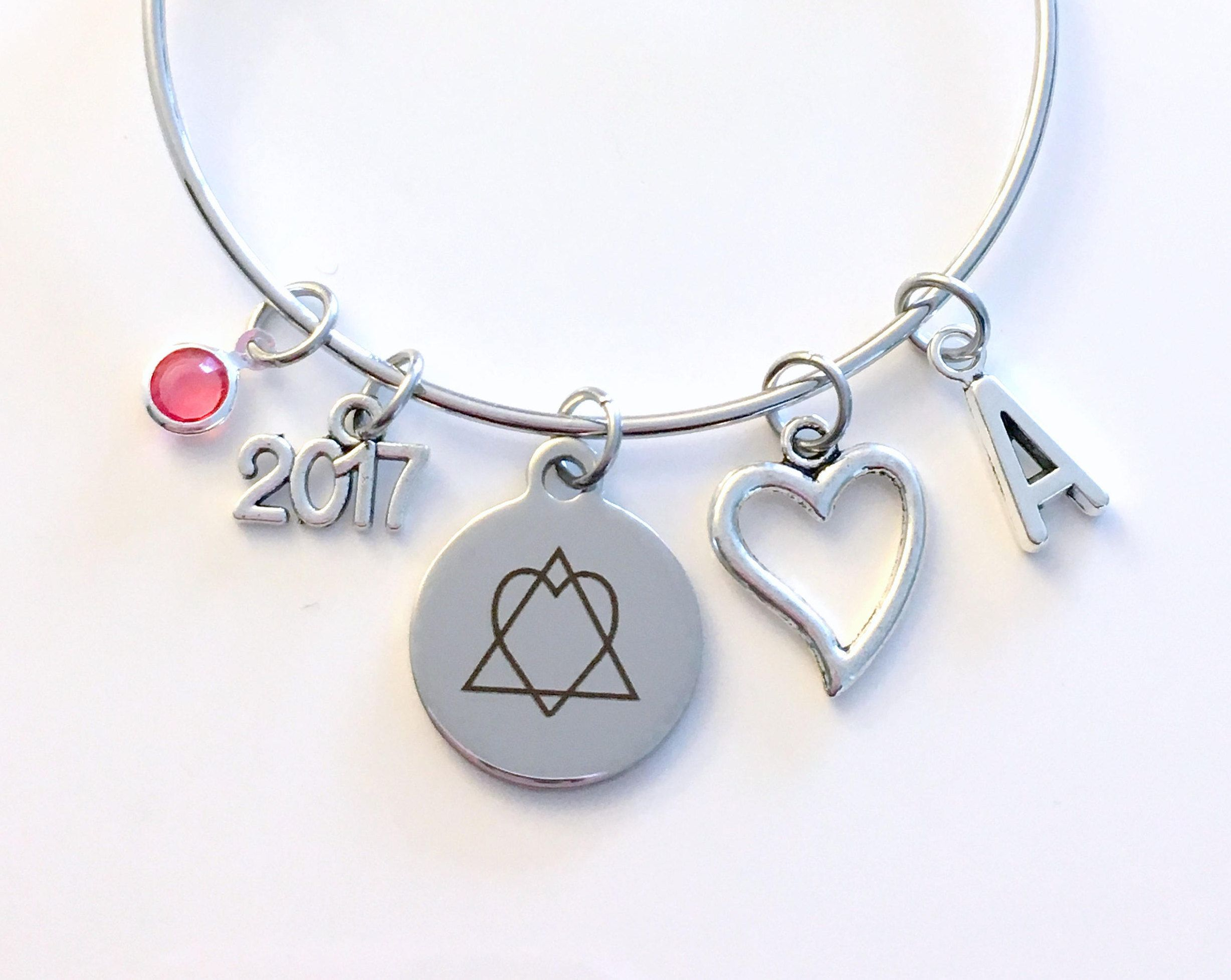 Adoption day bracelet gotcha 2017 2018 gift for new mom parent adoption day bracelet gotcha 2017 2018 gift for new mom parent jewelry adopt symbol charm bangle silver initial birthstone birthday present buycottarizona Image collections