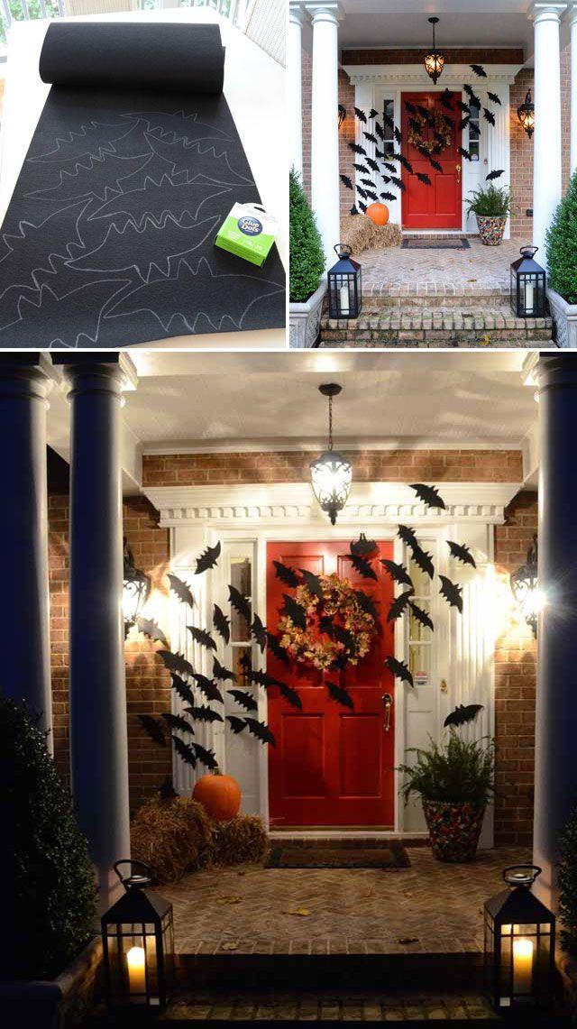 Create Bats From Black Felt And Fill The Front Door Halloween
