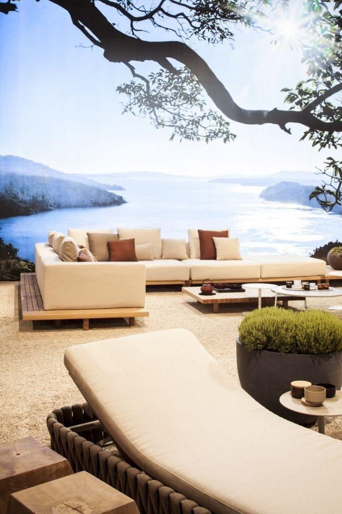 Lounge Möbel Set Für Den Außenraum  Polster Ecksofa Mit Holzgestell